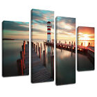 MSC441 Ocean jetty Lighthouse Canvas Wall Art Multi Panel Split Picture Print