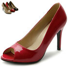 ollio Womens Shoes Open-Toe High Heels Enamel Pumps