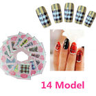 Grid Pattern Nail Art Nail Decals Water Transfer Stickers 14 choices Pretty