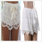 Celebrity Ladies White Festival Summer Crochet Lace Bow Mini Shorts Pants - CB