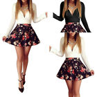 Sexy Women's Long Sleeve Low-Cut V-Neck Cocktail Party Short Slim Floral Dress