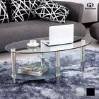 CLEAR/BLACK GLASS OVAL COFFEE TABLE WITH SHELVES AND CHROME LEGS LIVING ROOM
