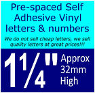 "QTY of: 16 x 1¼"" 32mm HIGH STICK-ON  SELF ADHESIVE VINYL LETTERS & NUMBERS¼"