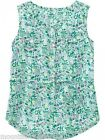 New OLD NAVY ~ Floral Print Gauze Tank Top ~ 100% Cotton ~ Green ~ Small 6-7 Kid