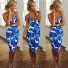 Women's V-Neck Sleeveless Sexy Backless Floral Printed Cocktail Party Dress - CB