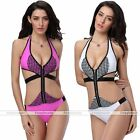 Summer Womens Set Bandage Bikini Zipper Monokini Padded Swimsuit Bathing Suit