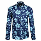Mens Floral Long Sleeve Shirts Cotton Button Patterned Designer Party Shirts