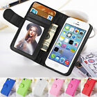 New Card Holder Flip Wallet Leather Case Cover Stand For Apple iPhone 4 5 5S on Rummage