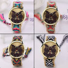 Adorable Lady Knitted Braided Chian Glasses Cat Pattern Women Quartz Wrist Watch