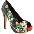 Iron Fist All Hope Abandoned Peep Toe Platform Shoes - Black