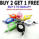 Retractable 1M Micro USB Charger Flat Noodles Cable FOR HTC Samsung Kindle Nokia