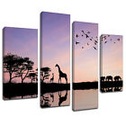 MA207 African Animals Water Hole Canvas Art Multi Panel Split Picture Print