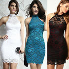 New Women Dressing Sexy Polo Neck Floral Lace Evening Mini Dress Party Clubwear