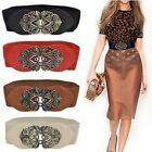 Chic Retro Women Girls Hollow Flower Elastic Stretch Buckle Wide Waist Belt - CB
