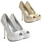 LADIES WOMENS PEEP TOE PLATFORM PARTY STILETTO HIGH HEEL COURT SHOES PUMPS SIZE