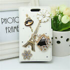 Bling Handmade Diamonds Wallet Slot Stand PU Leather Cover Case For Huawei Sony