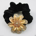 2pcs 80mm Black Rope Rhinestone Flower Hair Rope Ponytail Holder Charms 53*53mm