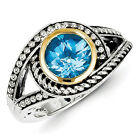Blue Topaz Swirl Ring Sterling Silver w/ 14K Gold Accent Size 6 - 8 Shey Couture