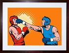 PAINTING SPORT AMATEUR BOXING PUNCH KNOCKOUT GLOVE FRAMED PRINT F12X5036