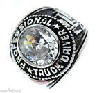 Clear Stones Professional Truck Driver Rhodium EP Mens Ring