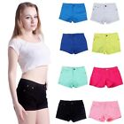 Womens Casual Summer Denim Candy Color Jean Shorts Hot Pants US Size S-XL