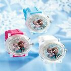 DISNEY FROZEN ANNA AND ELSA LIGHT UP FLASHING WATCH RELOJ BLUE PINK OR WHITE