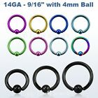 "PAIR 14g~9/16"" with 4mm Closure Ball Titanium Anodized 316L Captive Bead Rings"