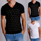 New Mens Graphic Tee HASHTAG Black V-neck short sleeve tee casual