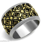 15 MM Wide Band Epoxy Two Tone Silver Stainless Steel Celtic Style Mens Ring