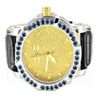 Real Diamond Watch Khronos Mens White Gold Finish Leather Band Joe Rodeo Wrist