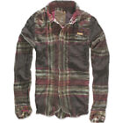 BRANDIT RAVEN WIRE SHIRT MENS COTTON FLANNEL LONG SLEEVE VINTAGE TOP CHOCO RED