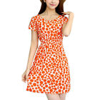 Woman Dots Prints Round Neck Pullover Short Sleeves A Line Dress