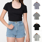 Women's Sexy Short Sleeve Crop Top Scoop Neck Casual TEES Short T Shirts Blouse