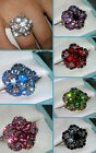 PRETTY CRYSTAL BIRTHSTONE FLOWER RING~ADJUSTABLE SZ 7/8/9~WOMENS BIRTHDAY GIFT