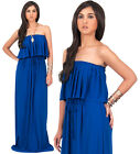 NEW Womens Elegant Strapless Ruffled Long Party Maxi Dress Plus Size L 2X