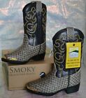 SMOKY MOUNTAIN BLACK PYTHON LARAMIE 1042Y YOUTH Cowboy Western Boots Shoes NEW