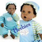 "Lee Middleton Angel Love 19"" Baby Boy Doll, Dark Skin Brown Hair, Brown Eyes"