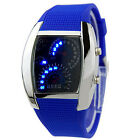 MENS NOVELTY GLAMOR RPM TURBO BLUE FLASH LED SPORTS CAR METER DIAL WRIST WATCH
