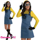 Female Despicable Me 2 Lady Minion Costume Licensed Womens Fancy Dress + Goggles