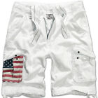 BRANDIT URBAN LEGEND STARS & STRIPES SHORTS MENS MARINE SUMMER CARGO PANTS WHITE