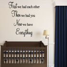 FIRST THEN NOW Nursery Wall Art Sticker Vinyl Quote Transfer Baby Gift Boy Girl