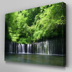 C420 Green Forest Waterfall Canvas Wall Art Ready to Hang Picture Print