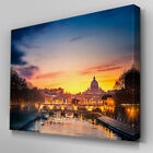 C365 Sunset Rome Italy River Canvas Wall Art Ready to Hang Picture Print