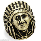Large Indian Head Antique Copper EP Stainless Steel Mens Ring