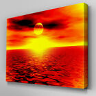 C068 Orange Ocean Sunset Canvas Wall Art Ready to Hang Picture Print