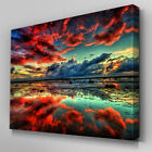 C273 Red Cloud Reflected Ocean Canvas Wall Art Ready to Hang Picture Print
