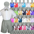 New Baby Boys Toddler Formal Vest Shorts Suit Vest 5pc Silver Bow Tie Set S-4T