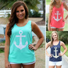 New Women Lady Anchor Sleeveless Bowknot Vest Tank Top Blouse Tee Shirt T-Shirt