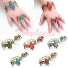 Punk Cool Rhinestone Beads Batman Bracelet Bangle + Stretchy Finger Ring Set FB