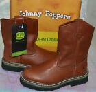 JOHN DEERE JOHNNY POPPERS CHILD'S WATERPROOF WELLINGTON BROWN BOOTS SHOES JD2113